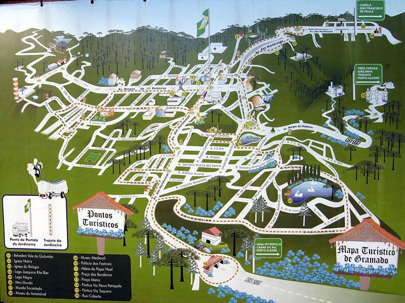 Mapa turístico da cidade de Gramado